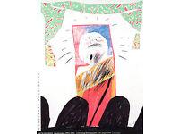 DAVID HOCKNEY - hand signed exhibition poster - c1995 - custom framed (Hamburger Kunsthalle)