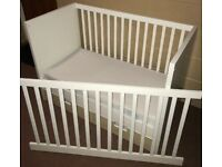 Baby / Toddlers Cot Bed & Mattress - White (used) - Collection Only