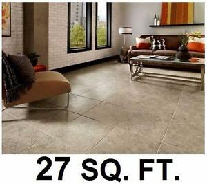 "NEW TRAFFICMASTER VINYL TILE FLOORING 27 SQ. FT. 12 TILES CASE 18""x18"" SELF-STICK 4 MIL WEAR LAYER STONE LOOK 96921152"