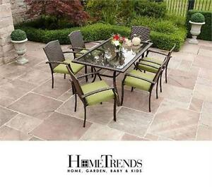 NEW* HOMETRENDS 6 PATIO CHAIRS 6 CHAIRS , 6 CUSHIONS AND TABLE TUSCANY STYLE Outdoor Living  77020004