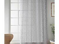 £5 X2 curtain panel silver/white colour