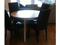 Ikea extending Dining Table and 6 leather chairs