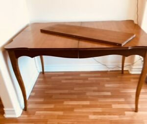 French Provincial dining table with leafand end table