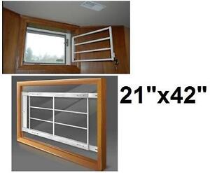 """NEW SWING-AWAY WINDOW SECURITY BAR - 108919573 - MR.GOODBAR  42-in x 21-in White Fits windows 42-54"""" wide and 21-33"""" ..."""