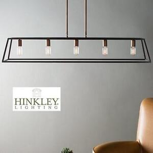 NEW HINKLEY 5 LIGHT CHANDELIER - 123179834 - BRONZE FULTON 1 TIER LINEAR