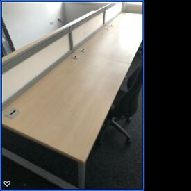 Premium Maple Desks x6 Bench Desking with Cable management trays and desk screens. Great Condition