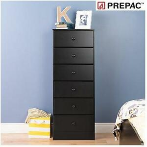 NEW PREPAC 6-DRAWER TALL CHEST - 111136338 - ASTRID BLACK