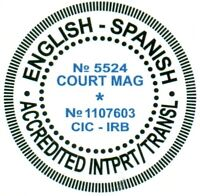 Official English translation of Spanish certificates documents