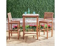 *URGENT SALE* *£40 o.n.o* Wooden Outdoor Garden Bistro Set - High Bar Style Table and 2 Chairs