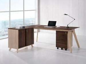 Modern L Shape Desk With Sliding Door Cabinet - BRAND NEW - Item #3850