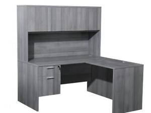 Classic Gray 5ft X 5ft L Shaped Desk With Hutch ($579) - Item #7128