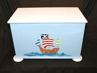 Quality Pirate Theme Handmade Toy Box, Fully Assembled, Can Be Personalised
