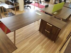 Modern L Shaped Desk With Lateral File Cabinet ($875 - $905) - Item #6710
