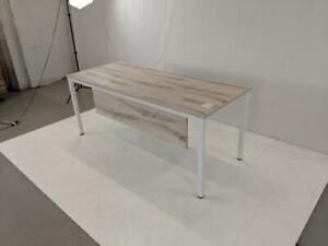 Modern White Steel Frame Straight Desks ($344.28 - $409.28) - Item #7627
