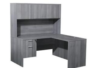 Classic Gray 5ft X 5ft L Shaped Desk With Hutch ($714) - Item #7128