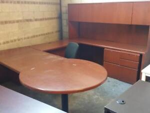 U Dhaped Desk With Hutch ($197.50 - $395) - Item #7717