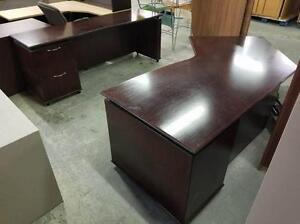 Dark Mahogany U Shaped Desk With Ghost Bridge ($296.25 - $395) - Item #6824
