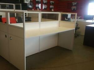 Modern Straight Workstation With Glass Top ($394.02 - $484.28) - Item #7685
