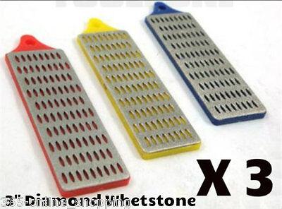 "3PC Diamond whetstone sharpening stone chisel file knife scissors 1"" x 3"""