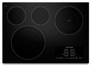"KITCHENAID NEW KECC607BBL 30"" ELECTRIC, 4 ELEMENTS,  TAP TOUCH CONTROLS   CERAN COOKTOP (BD-1525)"