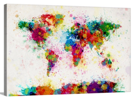 World map canvas collectables gumtree australia cairns city art large abstract world map paint drops wall art gumiabroncs Images