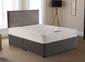 Brand new double bed divan with orthopedic mattress and headboard