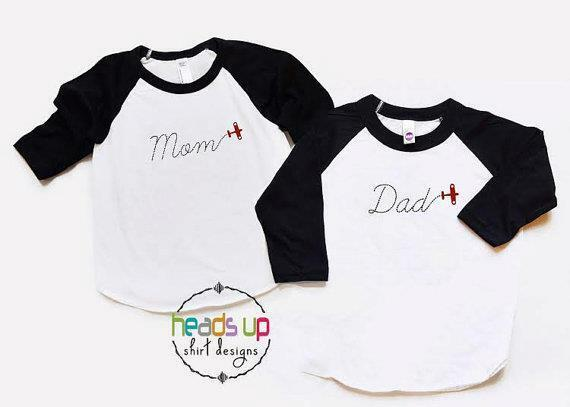 Airplane Shirts Adult Mom Dad Birthday Party tshirt Raglan Mother