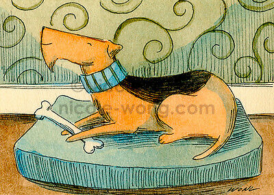 ACEO PRINT - Happy Airedale - art, dogs, pets, treats, bed, drawing, painting
