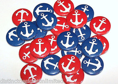 Gender Reveal Buttons (Nautical Anchors Red Blue Gender Reveal Pins Buttons Party Favors -Set of)