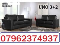 ITALIAN LEATHER 3+2 SOFA BLACK OR BROWN + DELIVERY