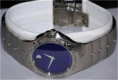 New Men's Movado SE s e blue 0604702 1.00ct.aprx.custom set real Diamond watch