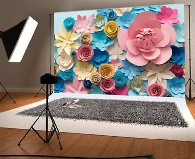 Colorful Paper Flower Photography Backgrounds 7x5ft Vinyl Photo Backdrops Props - Paper Photo Backdrops