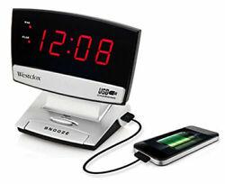 Westclox LED Plasma Screen Alarm Clock with USB Charging Port  71014X-NIB