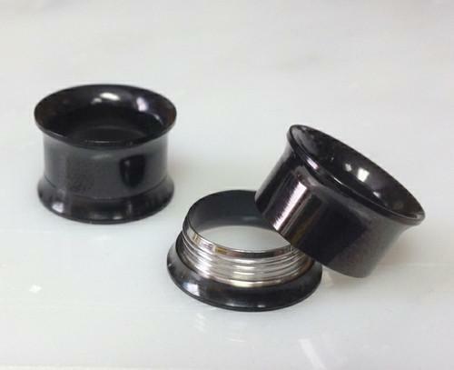 12pc Black Steel Internally Threaded Tunnels Wholesale Plugs Gauges 00g - 8g