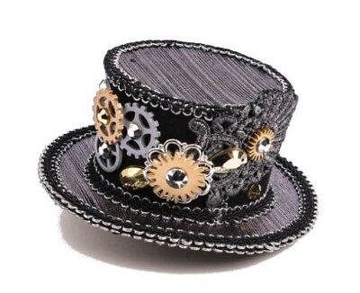Steampunk Mini Top Hat Slv/Blk Metallic Fabric Covered Felt W/ Gear & Lace Decor