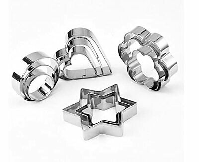 12PCS Stainless Steel Cookie Cutters Shapes Baking,Flower Round Heart Star Shape