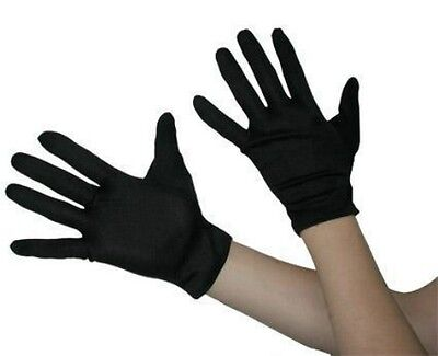 Adult Short Black Gloves Halloween Costume Gangster Robber Magician Womens Mens](Mens Robber Halloween Costume)