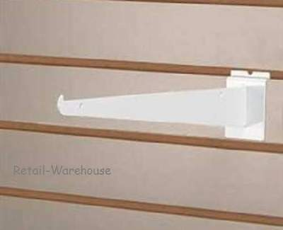 25 Slatwall Slat Grid 12 Knife Shelf Brackets White With Lip Shelving Display