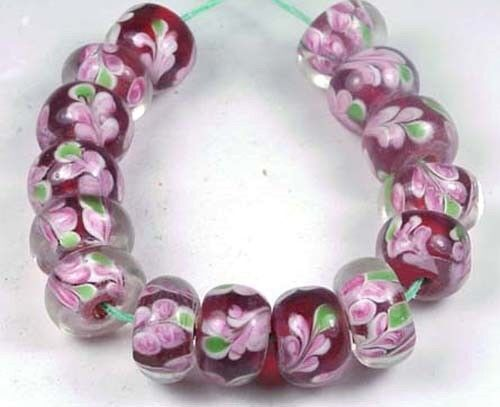 10 Lampwork Handmade Glass Wide Petunia Encased Rondelle Beads
