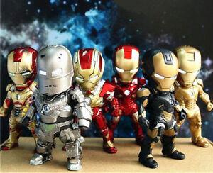 Set 6 Iron Man Mark MK42 Eye Light Action Figure Figurine Toy Doll New In Box