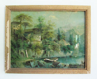 Antique Framed Mother Of Pearl Print Cut Out Art