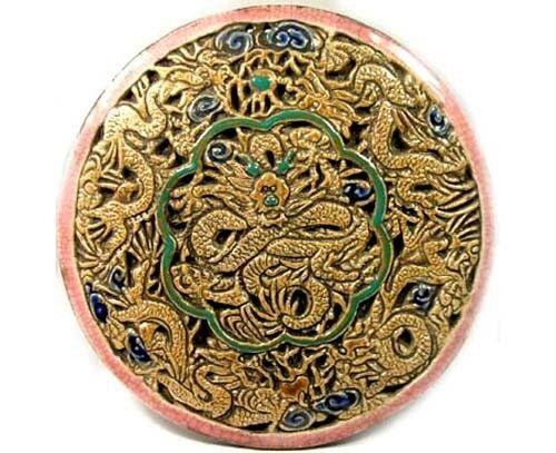 "19thC China ""Ming Style"" Sancai Porcelain Camel Head Deer Antler Dragon Plaque"