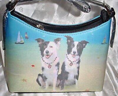 Border Collie Dog Theme Hobo Style Microfiber Handbag