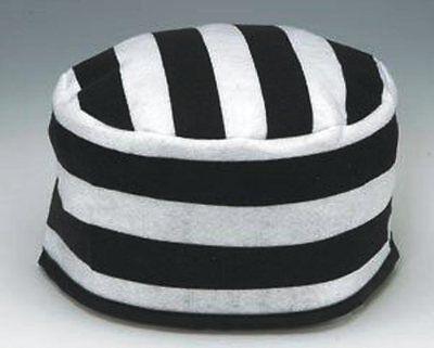 BLACK WHITE STRIPED PRISONER HAT JAIL JAILBIRD INMATE CONVICT COSTUME CAP 20'S](Black And White Striped Prisoner Costume)