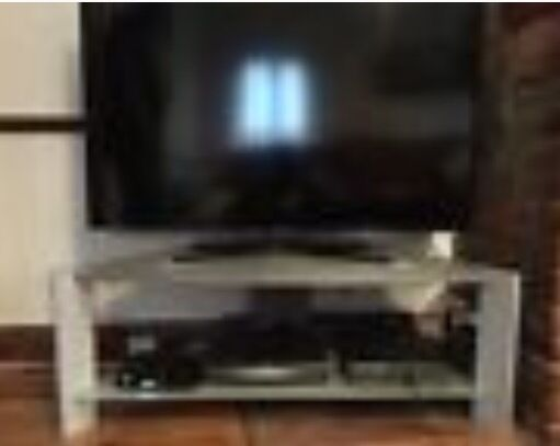 Large silver & frosted glass tv stand