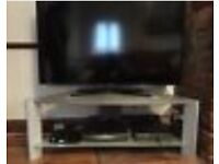 Free large silver & frosted glass tv stand