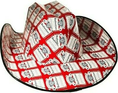 Budweiser Cowboy Cowgirl Hat Beer Box Cardboard Novelty Red White Blue  NEW