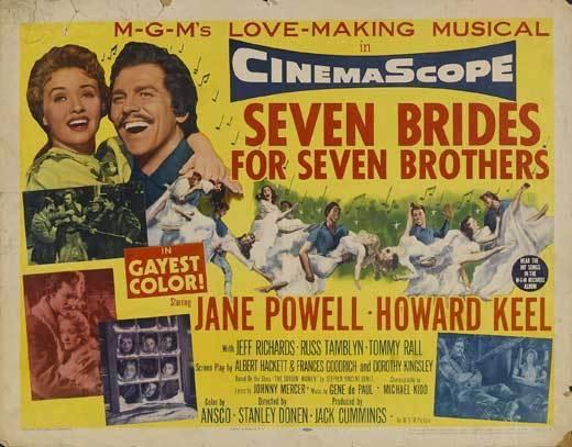 SEVEN BRIDES FOR SEVEN BROTHERS Movie POSTER 22x28 Half Sheet B Howard Keel Jane