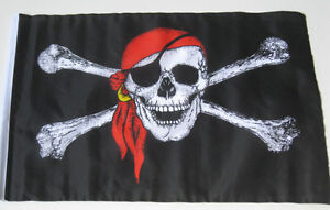SKULL AND CROSSBONES -PIRATE WITH RED SCARF - 18