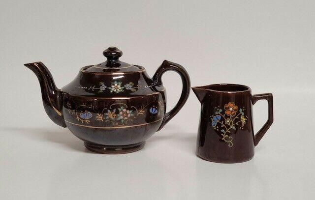 Mid Century Brown Floral Mini Teapot & Mini Creamer/Made in Japan/Vintage/Rare